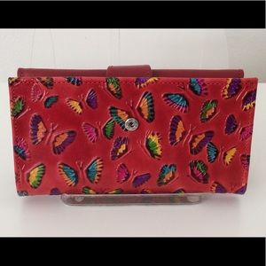 Butterfly Embossed Genuine Leather Wallet, Red